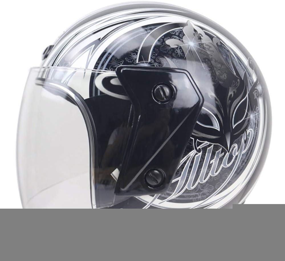YOVYO Casco de motocicleta, casco de motocicleta, casco abierto, ciclomotor, estilo retro, aprobado por DOT, apto para hombres y mujeres Cruiser Biker Gloss Casco, Fénix Negro, Medium