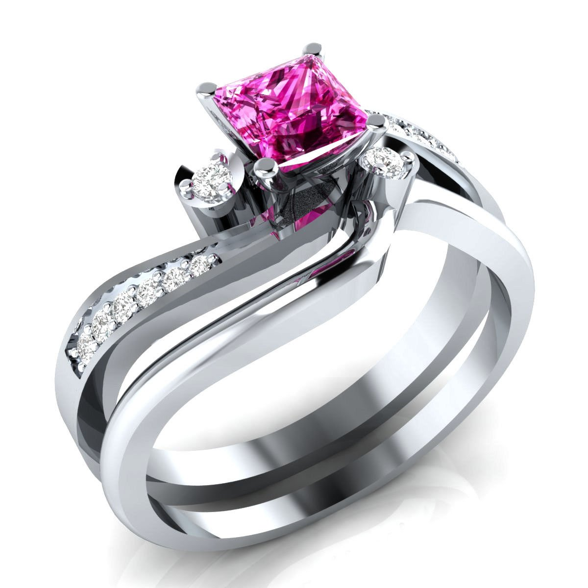 Dream/Jewelry Elegant 1ct Round Round Cut Solitaire Halo Created Pink Sapphire Wedding Engagement Ring in .925 Sterling Silver Plated