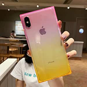 iPhone Xs Max Case for Girls,Tzomsze Clear Square Case Cute Gradient Slim Silicone Transparent Reinforced Corners TPU Cushion Cover Case for iPhone Xmax [6.5 inch]-Pink Yellow