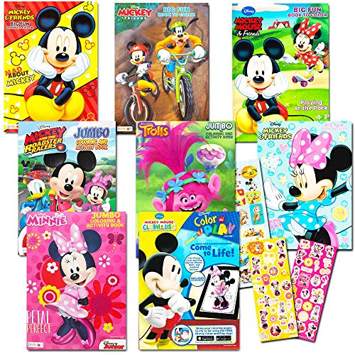 Disney Coloring Books For Kids Toddlers Bulk Set -- 8 Books and Sticker Pack (Mickey Mouse, Minnie Mouse and -