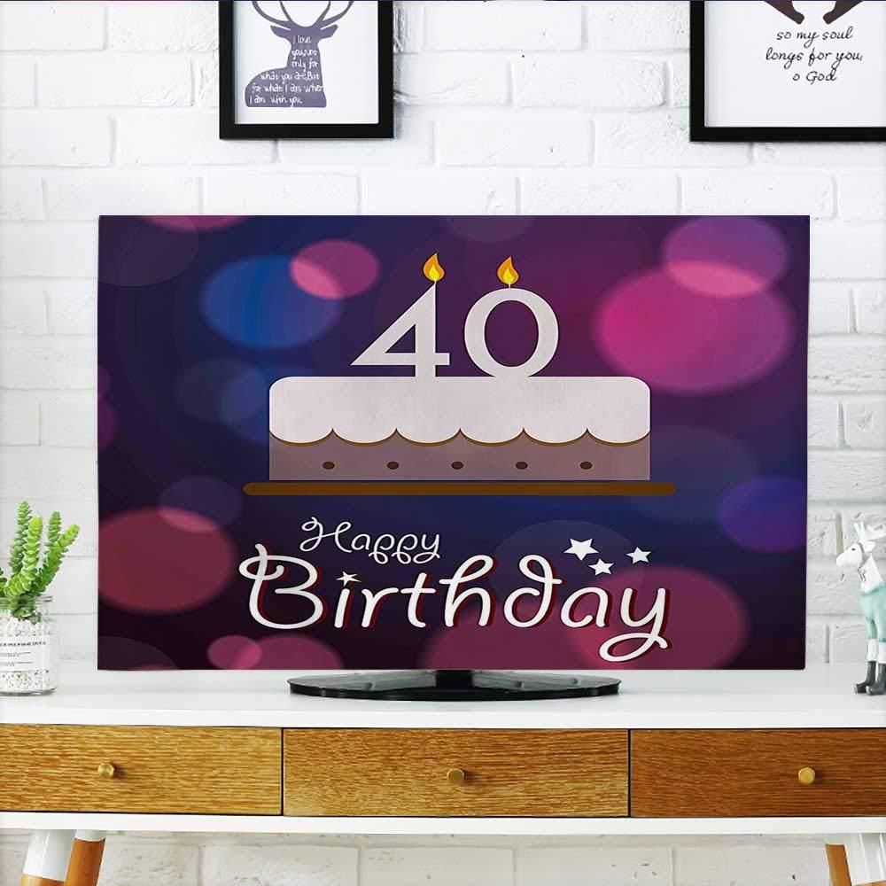 Auraisehome テレビのデコレーションを保護 日付付きゴムスタンプ 数字のForty Congratulation Grungy Look レッド ホワイト TV W19 x H30 インチ/TV 32インチ W35 x H55 INCH/TV 60