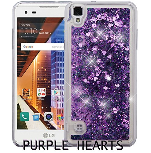 LG TRIBUTE HD LS676 / VOLT 3 / X STYLE Case - Transparent Floating Liquid Glitter HARD TPU Waterfall Cover (PURPLE)