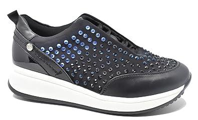 Top3 - Zapatillas Sport de Mujer con Brillantes - 7320 - Negro (41)
