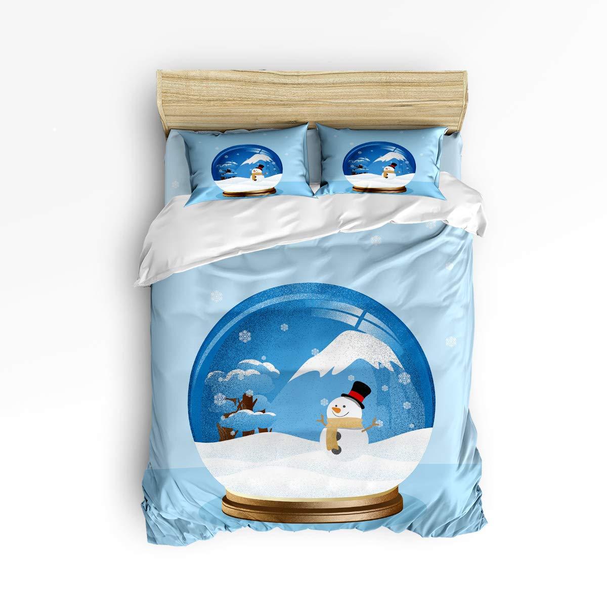 Anzona 寝具4点セット 雪だるまの雪だるまの木 魔法のクリスタルボール柄イメージ 4ピース 羽毛布団カバーセット ベッドスプレッド デイベッド 子供/子供/ティーン/大人 Twin Size 181022-zly4pcsbeds-SWTQ00503SJTAAZN B07JQFCZ3M Snowman11azn6191 Twin Size