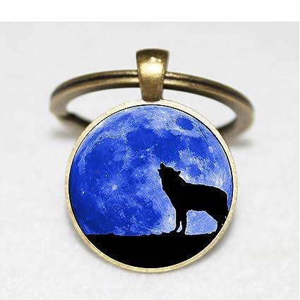 Llavero, diseño de lobo aullando. Luna Art Llavero joyas ...