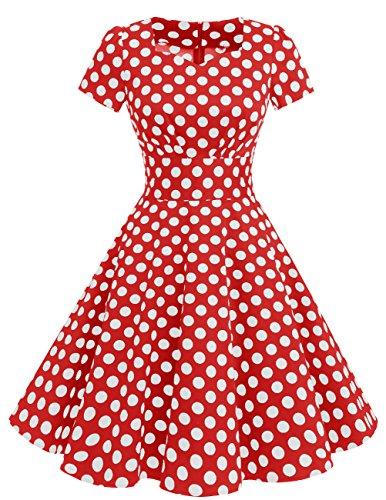 Estilo Vintage Corta DresstellsVestido Dot White Corto con 1950 Mujer Manga De Red Xqqa7wHB