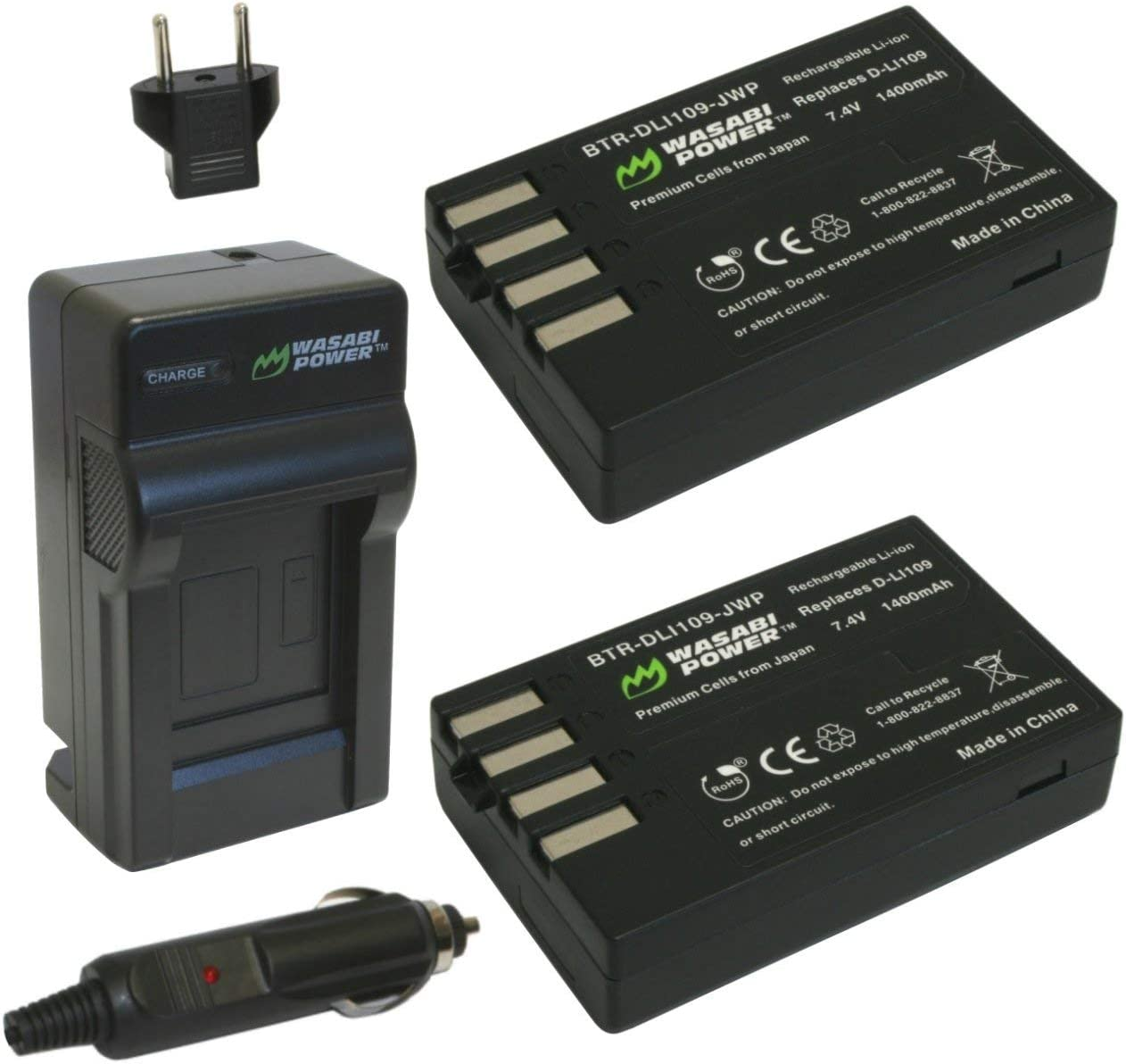 Wasabi Power Battery (2-Pack) and Charger for Pentax D-LI109 and Pentax Kr, K-30, K-50, K-500