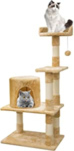 Aipety Cat Tree, Multilevel and Luxury Cat Towers with Sisal-Covered Scratching Posts, Plush Perches and Condo, Cat Tower Furniture, 42.5 inches …