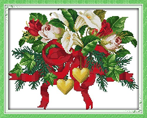 Good Value Cross Stitch Kits Beginners Kids Advanced – Christmas Bouquets 11 CT 18X15, DIY Handmade Needlework Set Cross-Stitching Accurate Stamped …
