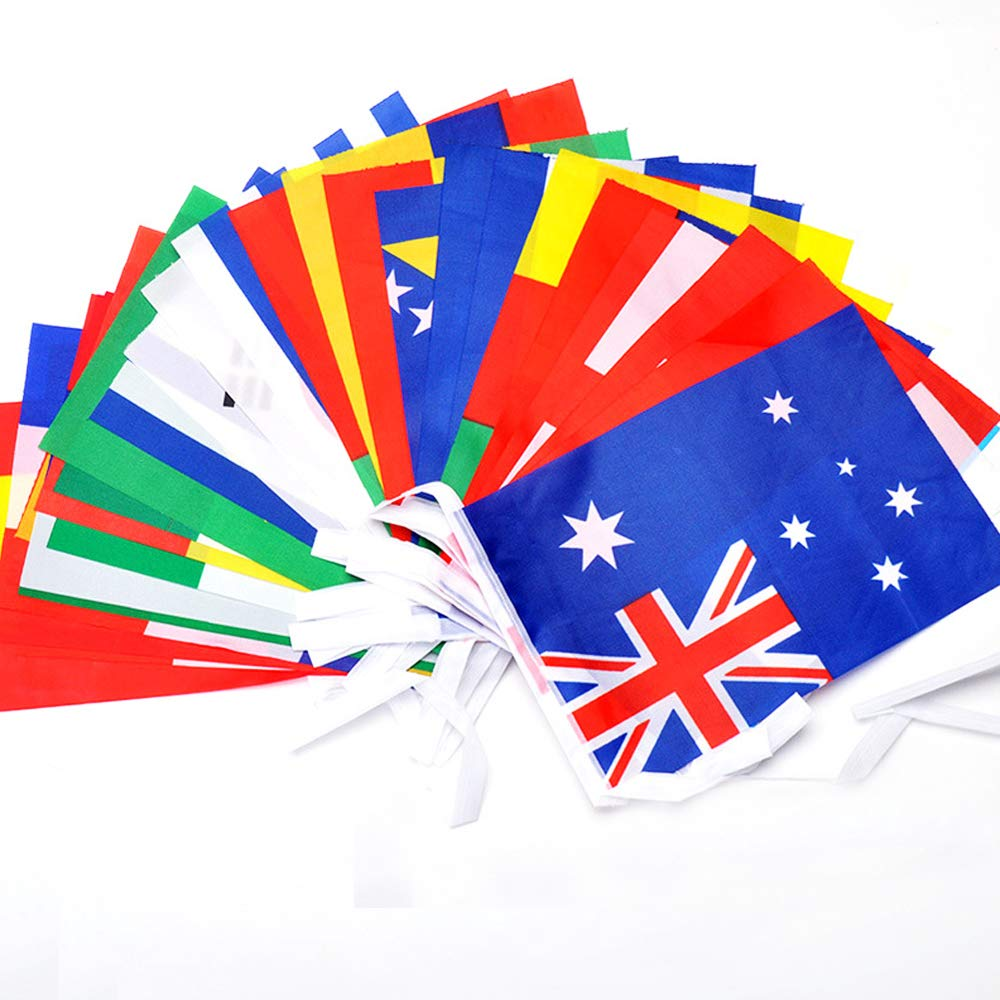 100 Random Different Countries Small Bunting Flag Bar Hanging National Flag 8.2''L x 5.5''W Banner String Flag(82 Feet) boxia
