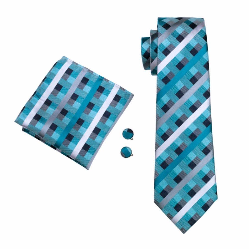 Kariert mehrfarbig Karos Seide Krawatte Set Binder Schlips Hochzeit Einstecktuch Manschettenknöpfe Krawattenset