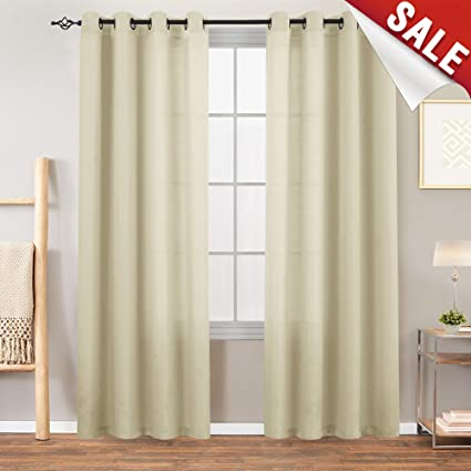 Merveilleux Semi Sheer Curtains For Living Room 84 Inches Long Casual Weave Textured  Privacy Heavy Sheer Window