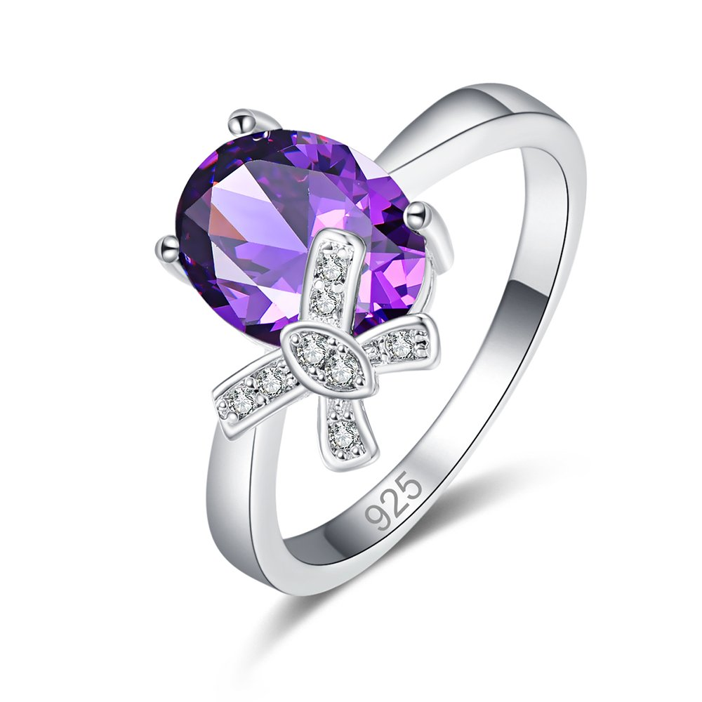 Psiroy 925 Sterling Silver Created Amethyst Filled Oval Cut Dainty Bow Knot Anniversary Ring Women by Psiroy (Image #1)