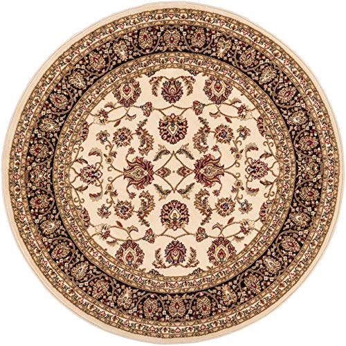 Noble Sarouk Ivory Persian Floral Oriental Formal Traditional 4 Round (3'11