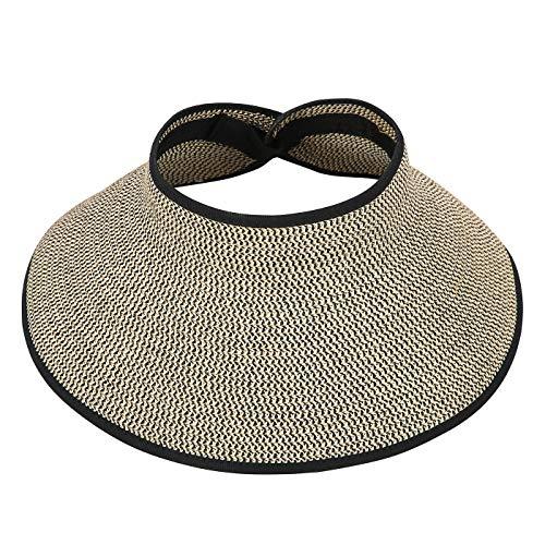 HDE Womens Roll Up Sun Hats Straw Visor Beach Bonnet Cap (Live Simply Hat)