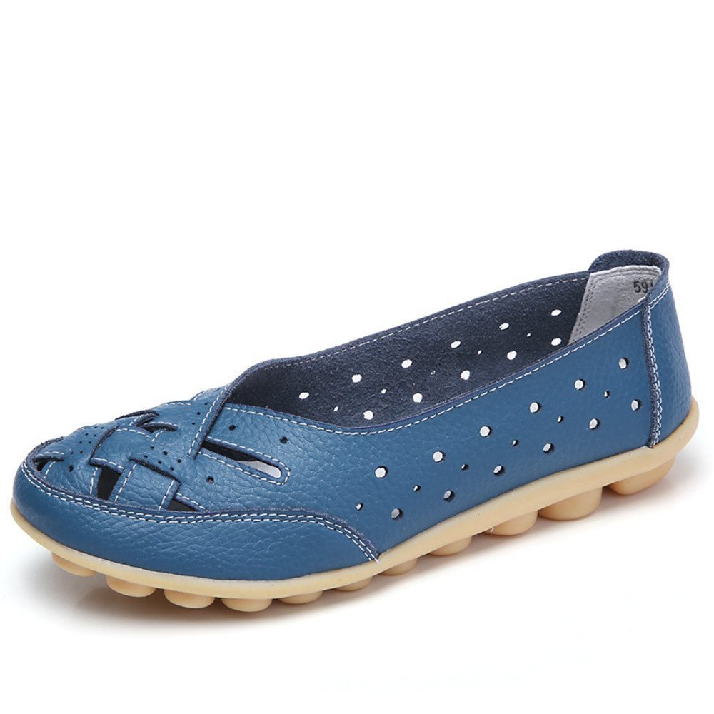 Gaatpot Damen Leder Schuhe Mokassin Bootsschuhe Leicht Loafers Flache Fahren Slippers Sommer Schuhe Frauen  40 EU|Blau