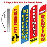 [4-PACK] Apartment Complex Advertising Package (Pet Friendly, Renting, Apartment Available, 1 & 2 Bedrooms) Feather Banner Swooper Flag Kit w/ Spike