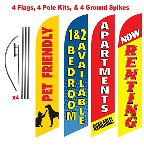 [4-PACK] Apartment Complex Advertising Package (Pet Friendly, Renting, Apartment Available, 1 & 2 Bedrooms) Feather Banner Swooper Flag Kit w/Spike
