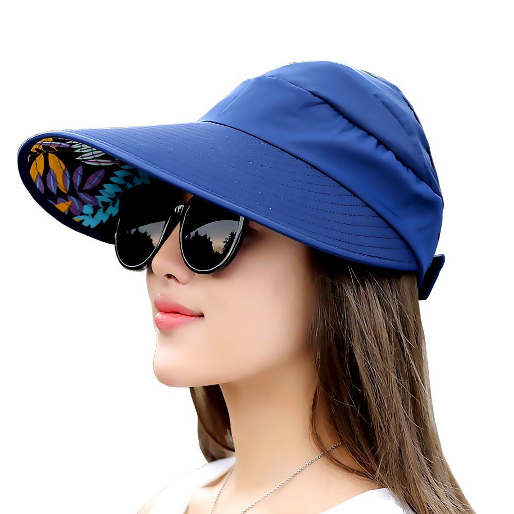 bluee FADA Sun Hats Women Wide Brim Visor UV Predection Packable Summer Beach Caps