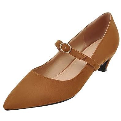 406c5bb3b5b9a1 AIYOUMEI Damen Kitten Heel Pumps mit Schnalle Mary Janes Kleiner Absatz  Schuhe Damen