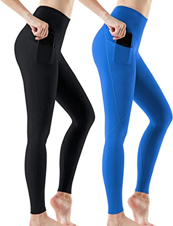 FANGTION Fashion Womens High Waist Pocket Yoga Pants Tummy Control Workout Running Leggings Slim Pants