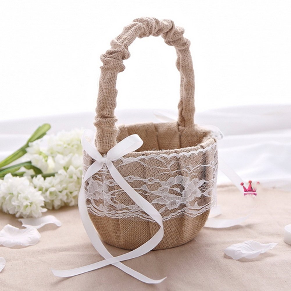 AllHeartDesires Rustic Wedding Hessian Burlap Lace Flower Girl Basket Party Favors by AllHeartDesires