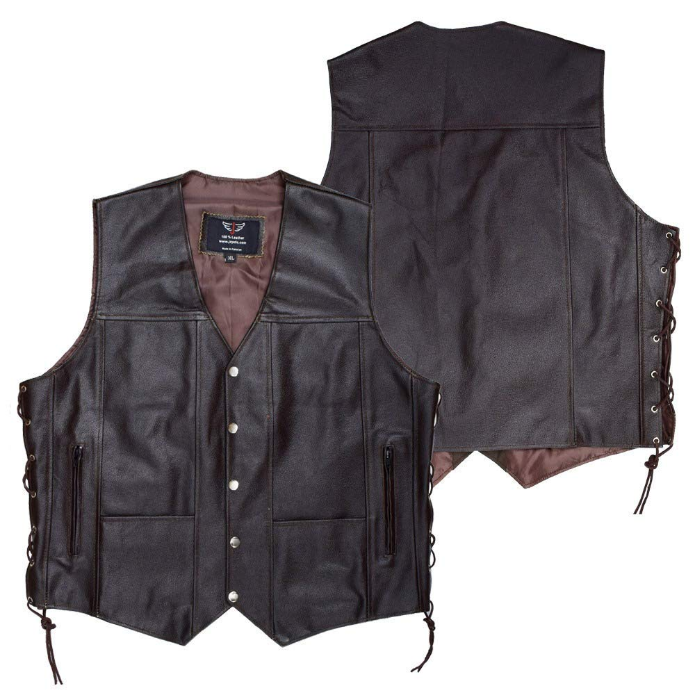 JAYEFO Leather Vest (4XL, Brown)
