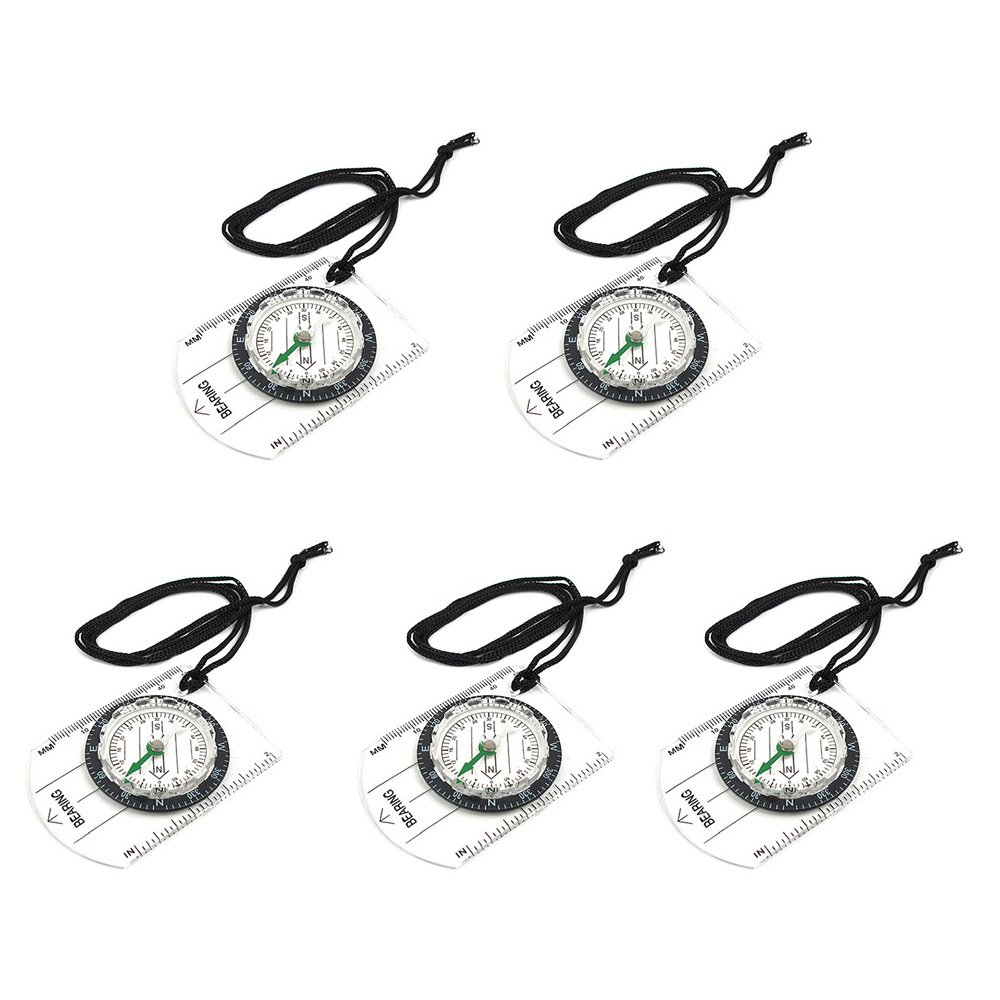 Zhi Jin Clear Pocket Sighting Orienteering Compass Direction Lensatic Compass Ruler for Camping Hiking Hunting Pack of 5