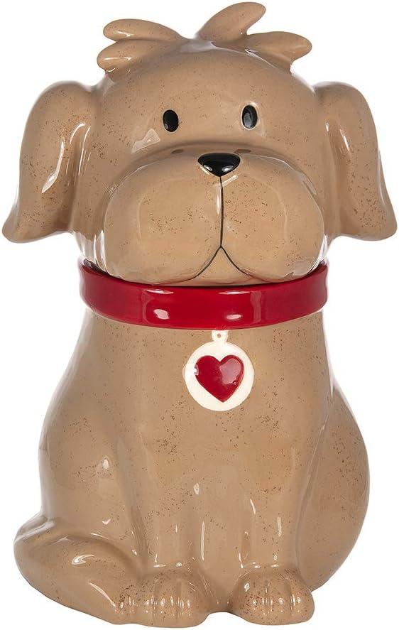 SPOTTED DOG GIFT COMPANY Gran Tarro de Cerámica, Bote para Galletas con Tapa (Marrón) y Forma de Perro Regalo para Amantes de los Animales y Dueños de Perros