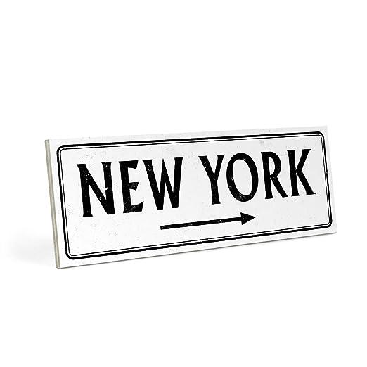 ARTFAVES Cartel de Madera, diseño con Texto - New York ...