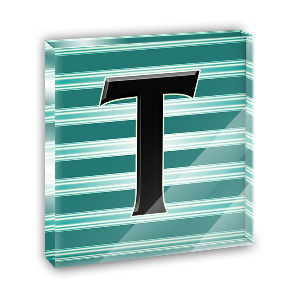 Letter T Initial Black Teal Stripes Acrylic Office Mini Desk Plaque Ornament Paperweight