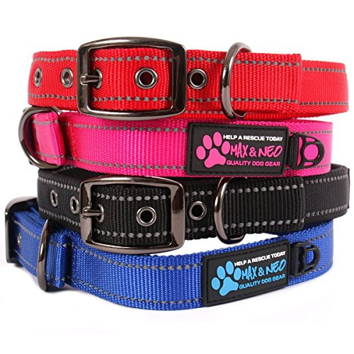 Max and Neo MAX Reflective Metal Buckle Dog Collar - We Donate a Collar to a Dog Rescue for Every Collar Sold (LARGE, (Wide Nylon Collar)
