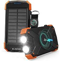 BLAVOR Cargador Solar Móvil 10000mAh Batería Externa Portátil Qi Power Bank Tipo C Puerto de Entrada Linterna Dual…