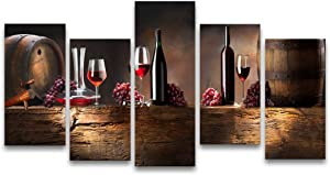 Muolunna-K61027 5 Pieces Kitchen Wall Decor Red Wine Cups HD Modern Framed Wall Art Fruit Grape Red Wine Glass Restaurant Canvas Prints Pictures Paintings for Dining Room Home Décor Artwork XLarge