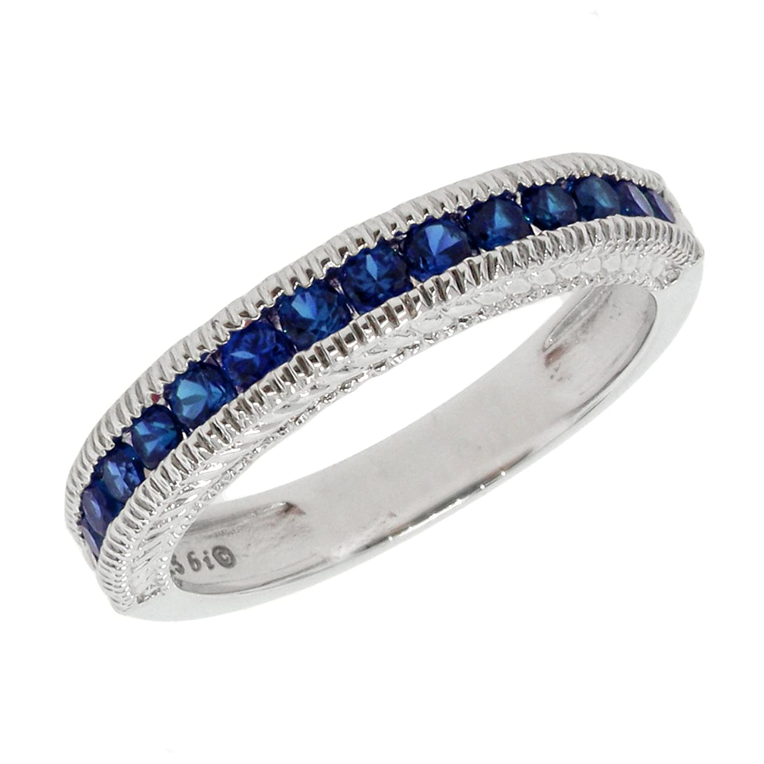 .70 CT Round 2MM Simulated Blue Sapphire Band Ring 925 Sterling Silver