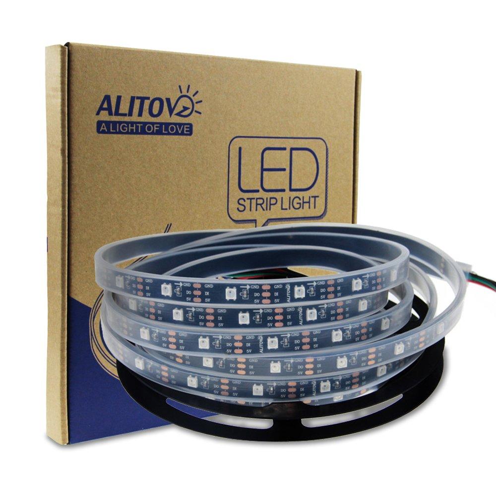 ALITOVE 16.4ft WS2812B Individually Addressable RGB LED Flexible Strip Light 5m 150 Pixels 5050 SMD DC5V Black PCB Waterproof IP67 E-s-8050