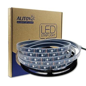 Alitove 164ft ws2812b individually addressable rgb led flexible alitove 164ft ws2812b individually addressable rgb led flexible strip light 5m 150 pixels 5050 smd aloadofball Images