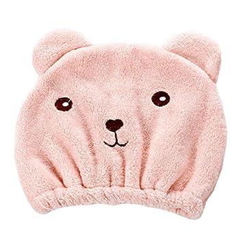 spritumn Kawaii oso para cabello seco sombrero super absorbente toalla de secado de pelo Wrap gorro tejido de microfibra suave rápida secador de Magic Talla ...