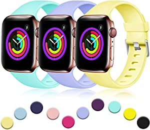 Haveda Sport Band Compatible for Apple Watch Series 6 40mm Series 5/4, Breathable iWatch Bands 40mm Womens for Apple Watch SE, iWatch 38mm Series 3 Waterproof, 3pack Lilac/Green/Yellow 38mm/40mm S/M