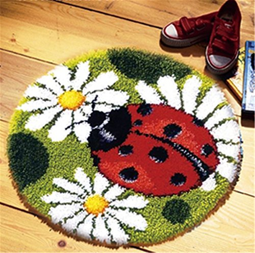 Beyond Your Thoughts Model Animal Latch Hook Kit Rug Animal Ladybug DIY Needle Craft Shaggy Kids Rug 17X17 in