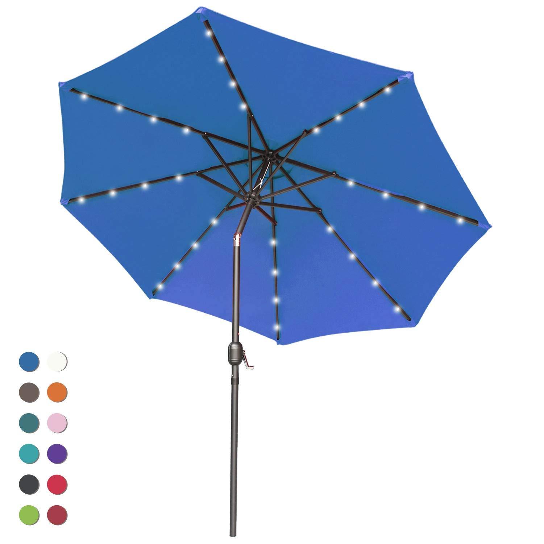 ABCCANOPY Solar Umbrellas Patio Umbrella 9 FT LED Umbrellas 32LED Lights with Tilt and Crank Outdoor Umbrella Table Umbrellas for Garden, Deck, Backyard, Pool and Beach,12+Colors, (Navy Blue) by ABCCANOPY (Image #1)