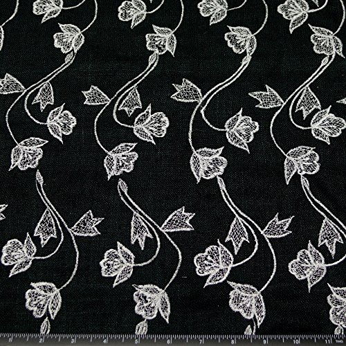 Black Matka Raw Silk with white flowery embroidery, 100% Silk Fabric, By The Yard, 44