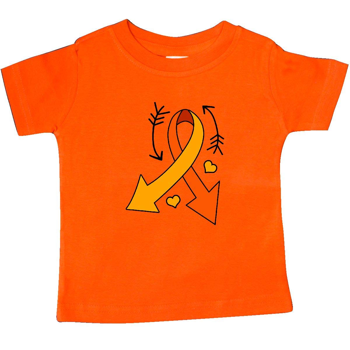 inktastic Orange Ribbon with Arrows and Hearts Leukemia Awareness Baby T-Shirt
