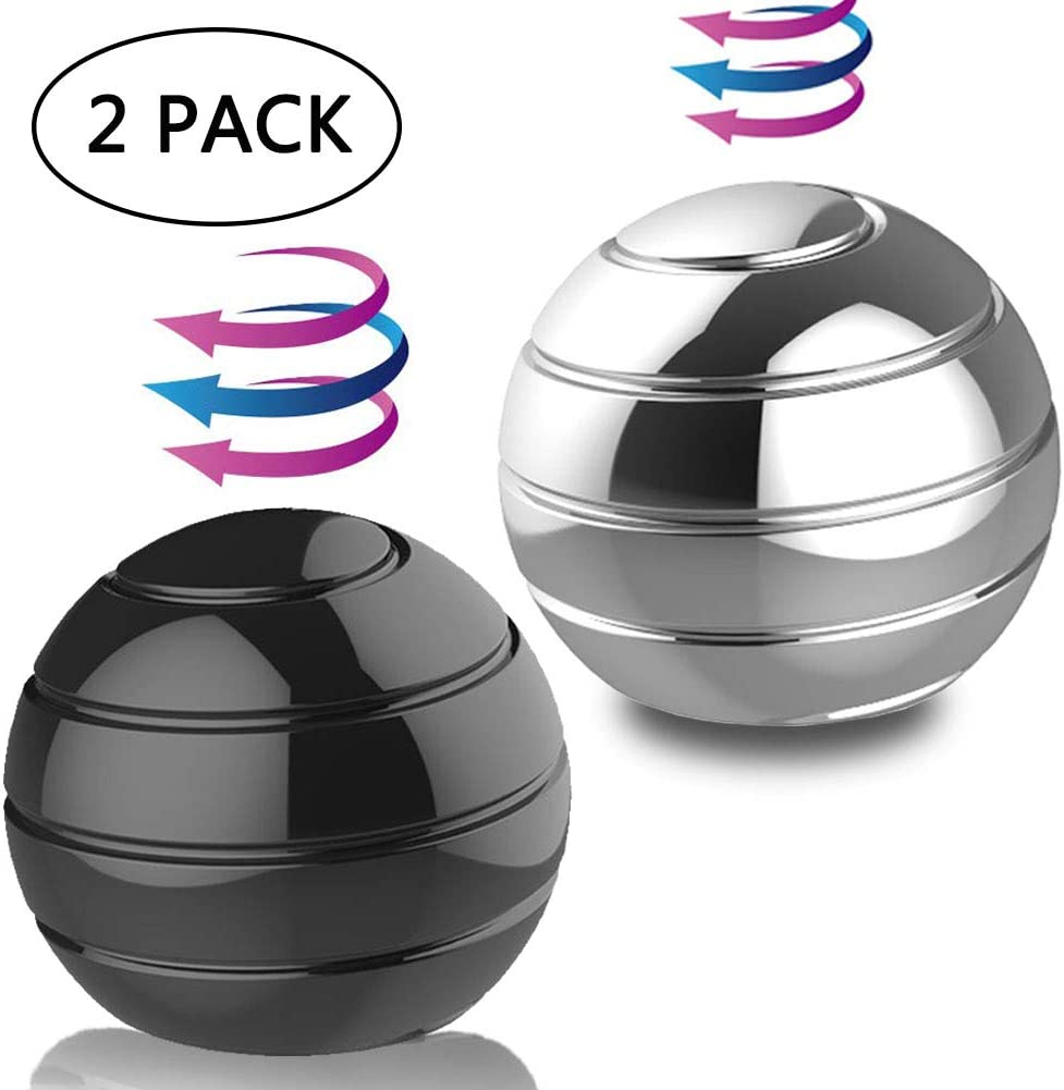 "DBlosp Kinetic Desk Toys,Full Body Optical Illusion Fidget Spinner Ball, Anti Anxiety ADHD Relieve Stress Inspire Inner, Gifts for Men,Women,Kids 1.5""/3.8cm Size (2 Pack)"