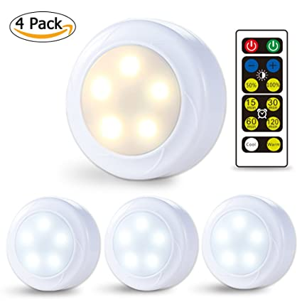 Litake Wireless LED Puck Lights, Remote Control Kitchen Under ...