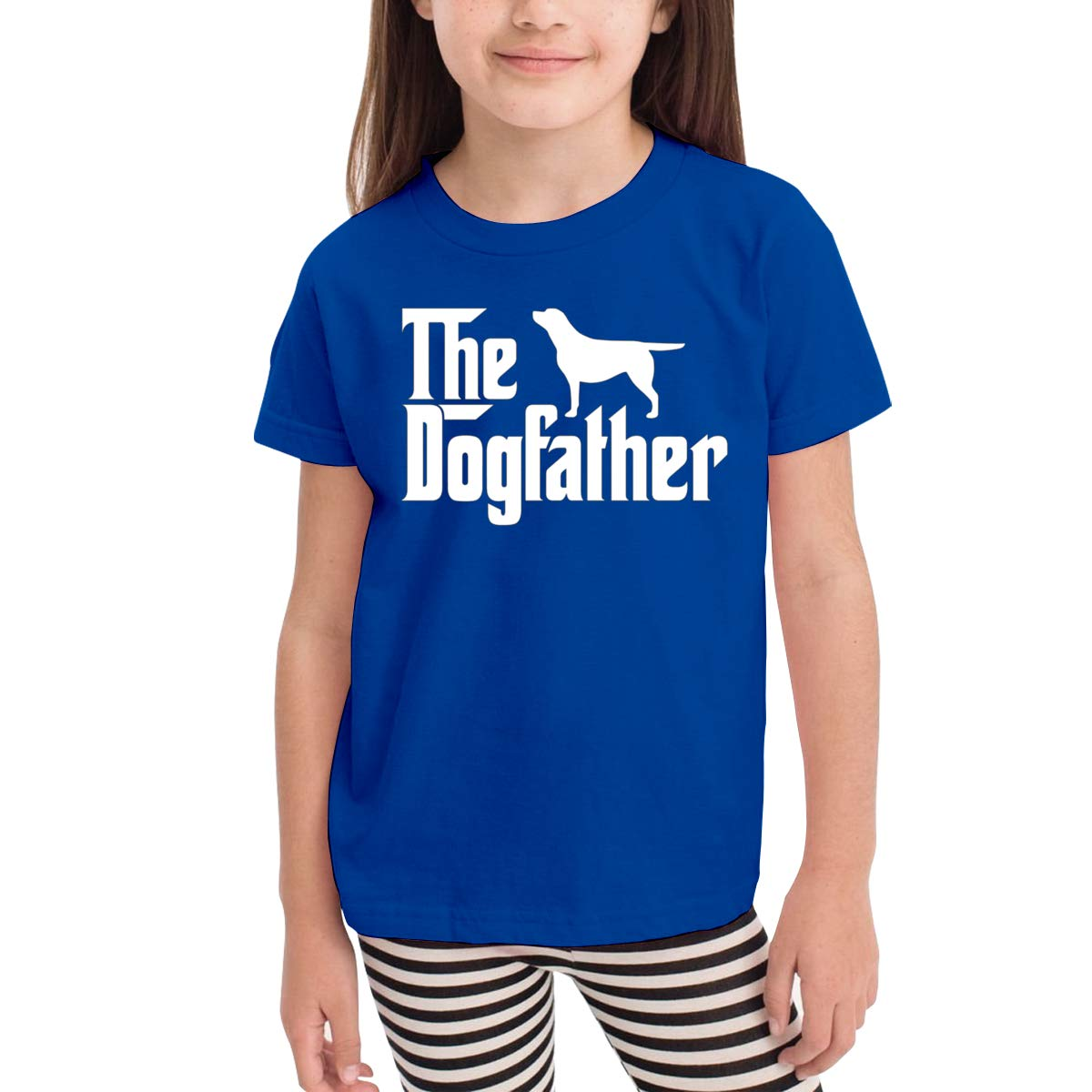 Kids T-Shirt Tops Black The Dogfather Unisex Youths Short Sleeve T-Shirt