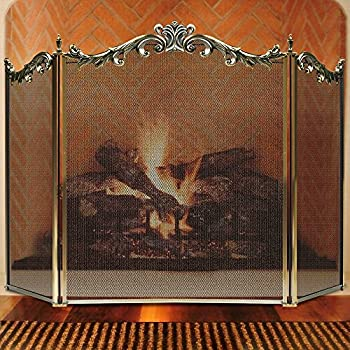 Large Floral Fireplace Screen 3 Panel Bronze Wrought Iron Metal Decorative  Mesh Fire Place Standing Gate