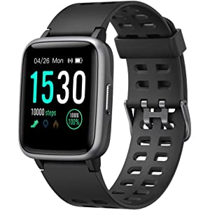 YAMAY Smart Watches,Fitness Tracker Touch Screen Smartwatch IP68 Waterproof Fitness Watch with Heart Rate Monitor Pedometer Step Counter Sleep Monitor Stopwatch for Men Women for iPhone Android Phone