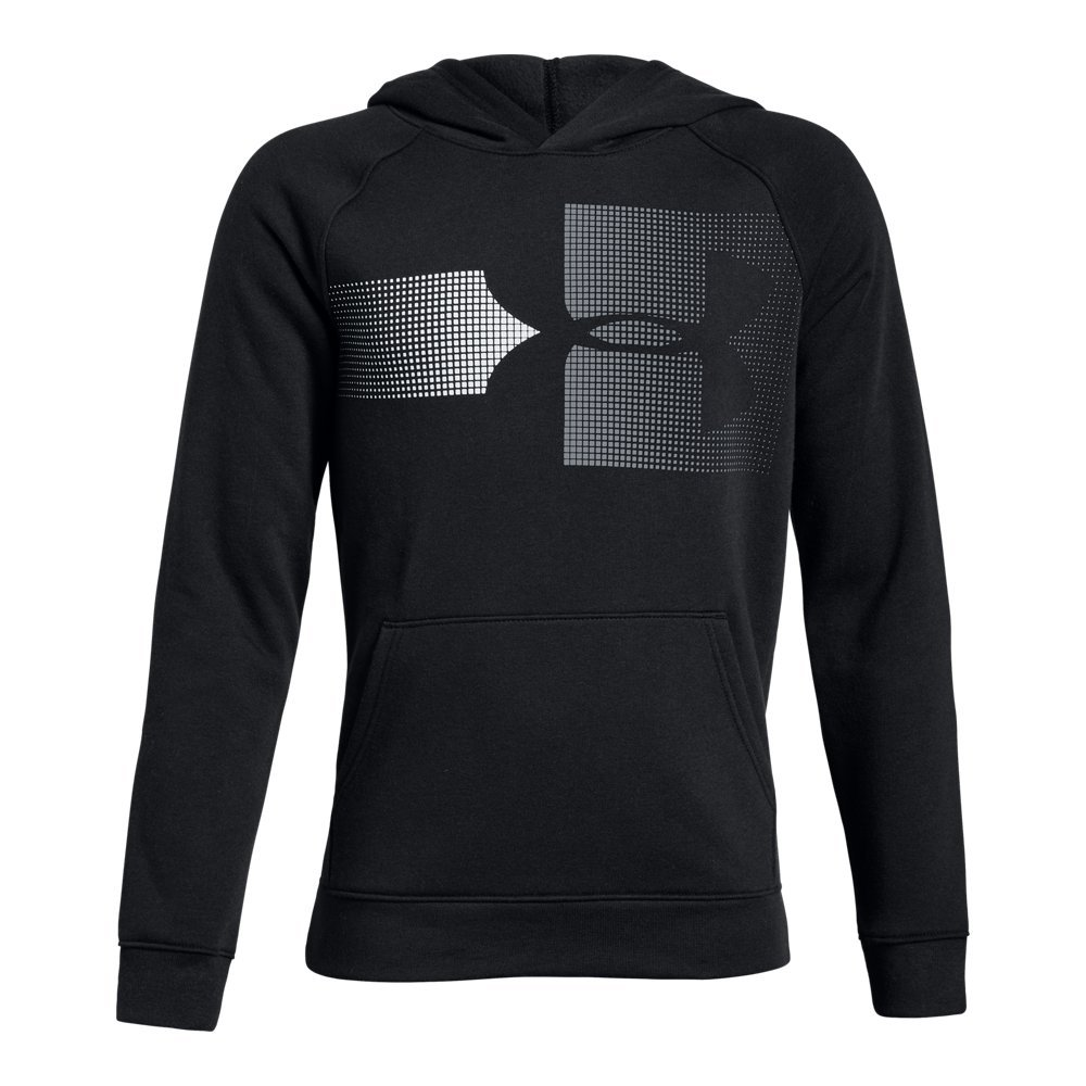 Under Armour Boys Rival Logo Hoodie, Black (001)/Steel, Youth Large by Under Armour