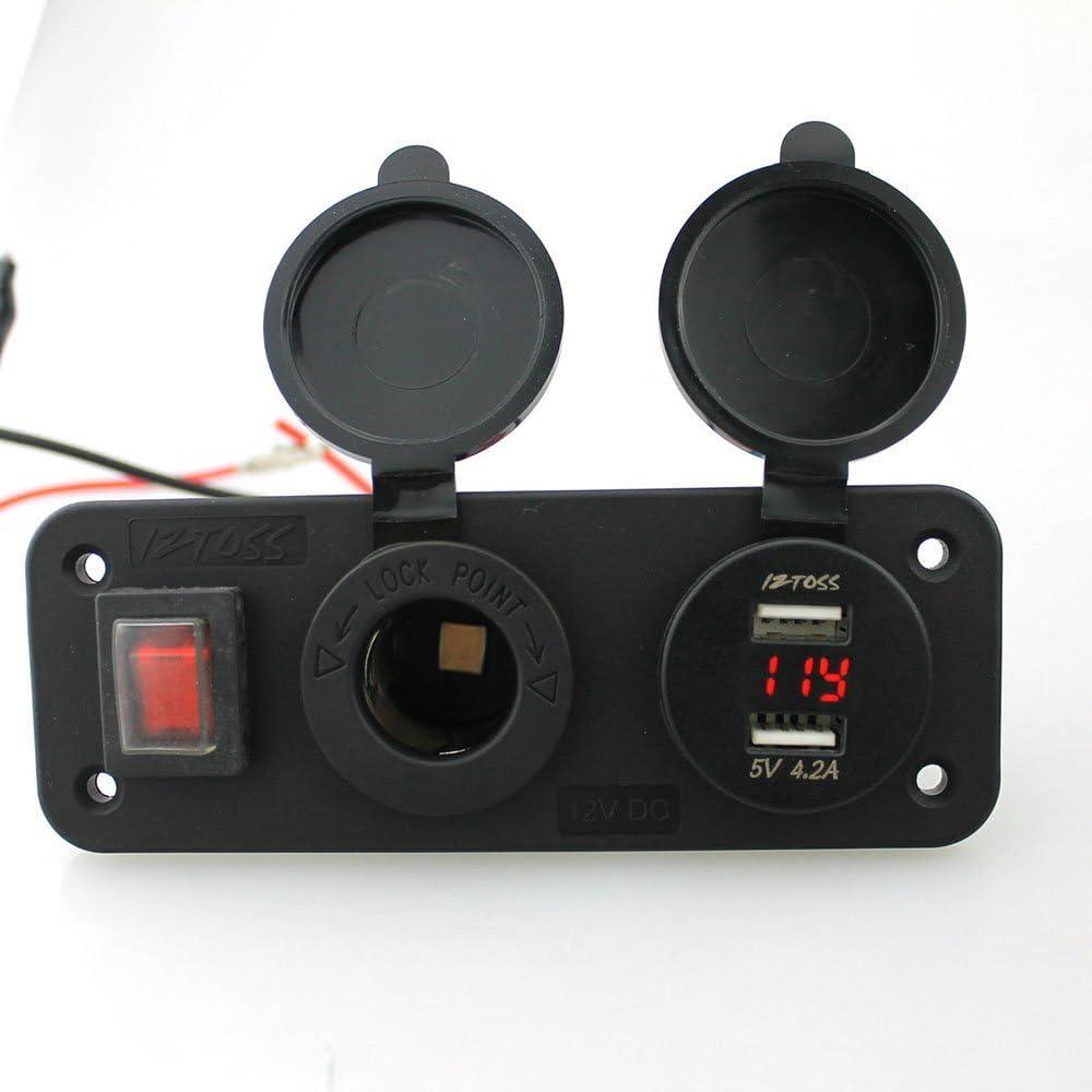 Cargador De Coche Cargador encendedor de automóvil Interruptor Modificación Accesorios 12-24V Voltaje coche de la motocicleta de la carretilla seguro y rápido Cargador De Puerto USB Para Coche